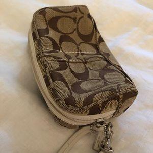 Coach cosmetic case perfect purse size wrist strap